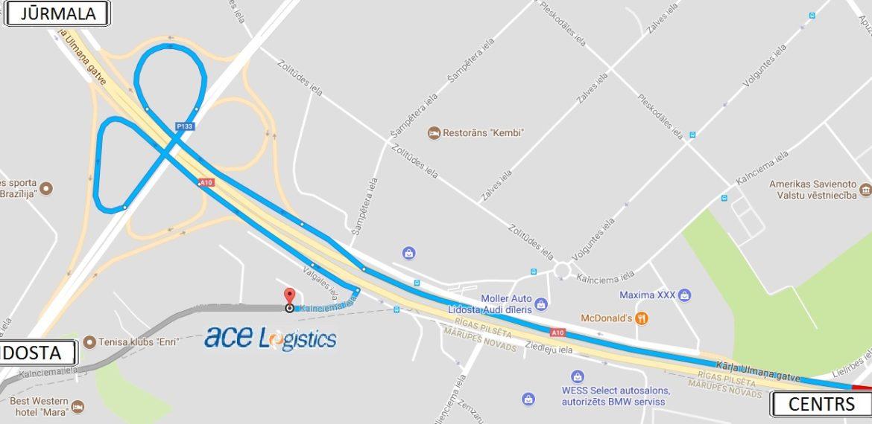 Maršruts uz ACE Logistics biroju