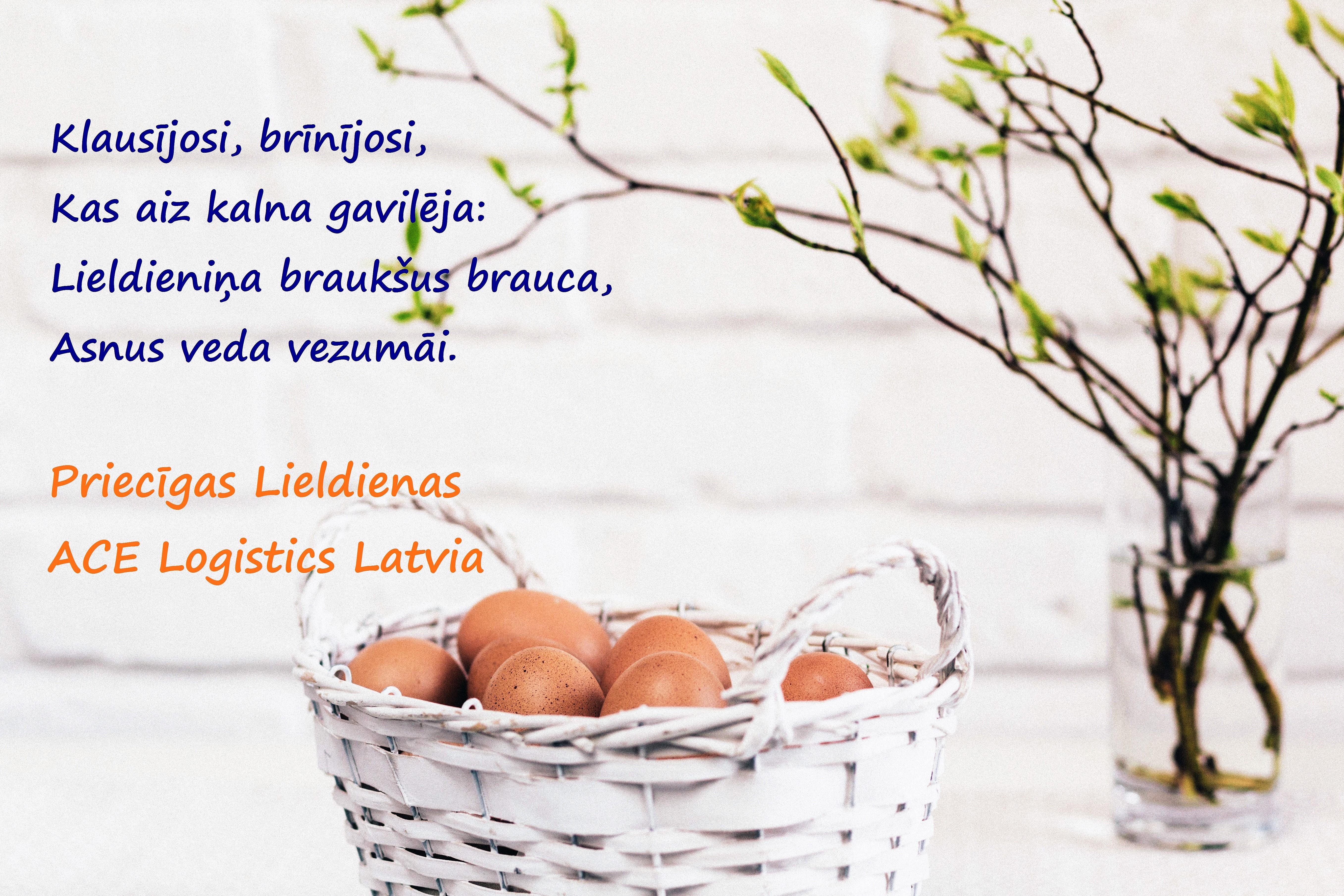 ACE Logistics Latvia novēlējums Lieldienās, grozs ar Lieldienu olām