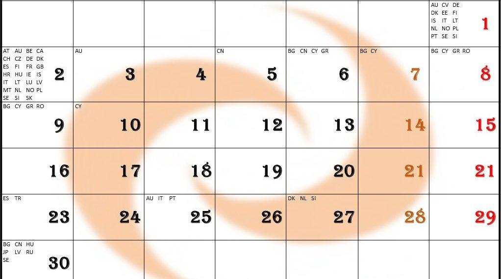 Ārvalstu svētku dienas aprīlī, kalendārs