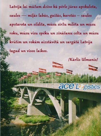 ace Logistics sveiciens Latvijas valsts dzimšanas dienā